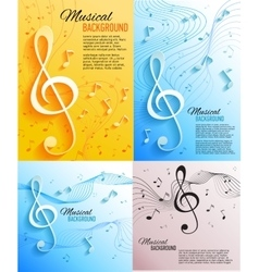 Set of musical banners with musical key and notes vector image vector image