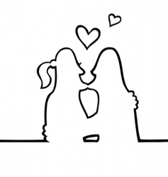 two people kissing each other vector image