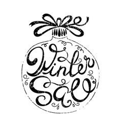 Winter sale hand drawn lettering vector image vector image