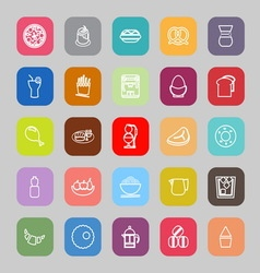 Easy meal flat line flat icons vector image