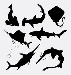 fish animal stingray shark swordfish silhouette vector image