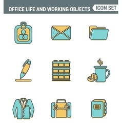 Icons line set premium quality of business items vector image vector image