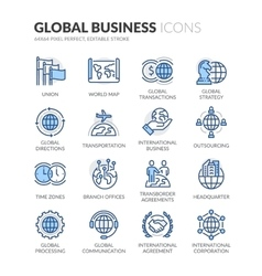 Line Global Business Icons vector image vector image
