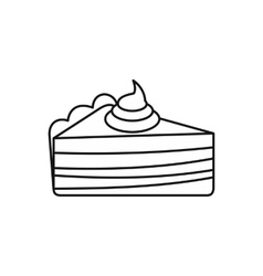 Piece of cake with cream icon outline style vector image