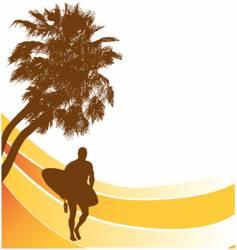 sufers beach banner vector image vector image