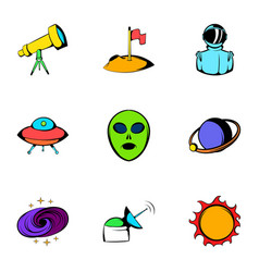 astronomy icons set cartoon style vector image vector image