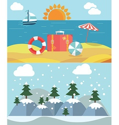 Changing seasons from summer to winter or vector