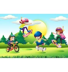 Children skateboarding and riding bike in park vector image