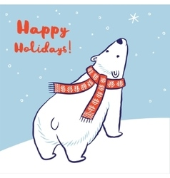 Christmas card of polar bear in red scarf and hat vector image