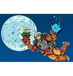 Colonization moon astronaut plants vector
