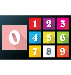 Flat numbers with long shadows for mobil app vector image