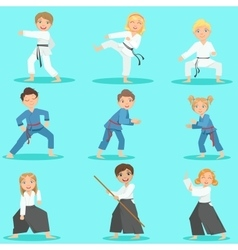 Kids On Martial Arts Training vector image