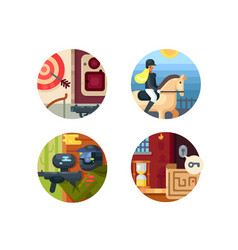 leisure icon set vector image