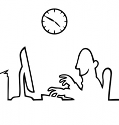 man behind a computer working vector image