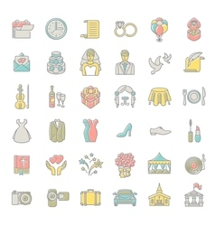 Modern flat linear colorful wedding icons vector image vector image