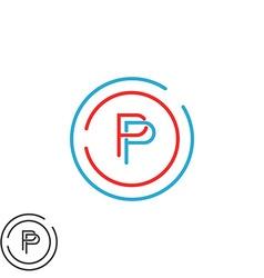 Monogram P letter logo mockup initial modern vector image vector image