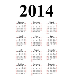 vertical calendar for 2014 vector image