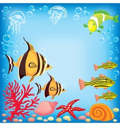 Colored fish under water vector image