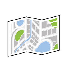 folded map navigation city direction location vector image