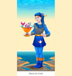 page of cups tarot card vector image