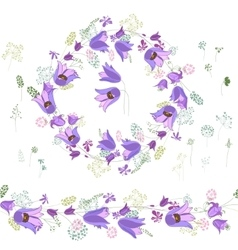 Round frame with contour blue flowers on white vector image