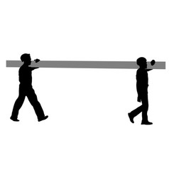 silhouette of two construction workers carry pipe vector image