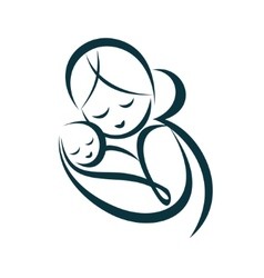 young mom hugs her baby stylized symbol vector image vector image