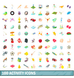 100 activity icons set cartoon style vector