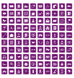 100 telephone icons set grunge purple vector image