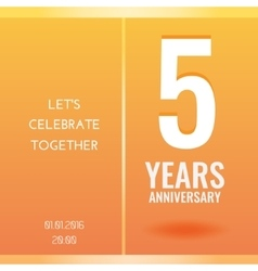 5th years anniversary celebration invitation card vector