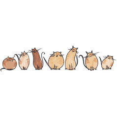 7 cute watercolor cats in 2 line on white vector