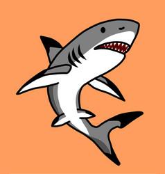 A fierce shark on an orange background vector