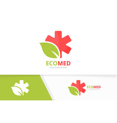 Ambulance and leaf logo combination vector
