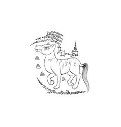 animal in thai traditional tattoo vector image