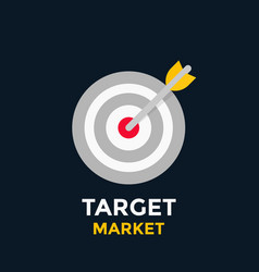 arrow in target icon vector image