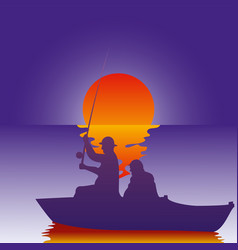 background fisherman on the vector image
