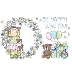 be happy i love you tilda doll clipart vector image
