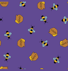 bee and honey seamless lilac patter vector image