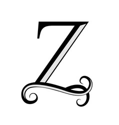 black letter z capital letter for monograms vector image