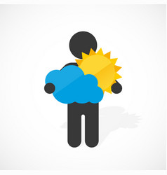 black silhouette of a man holds sun and cloud vector image