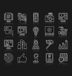 blogging online simple white line icons set vector image