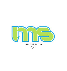 Blue green alphabet letter ms m s logo icon design vector