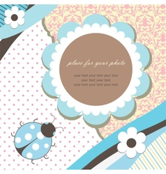 Blue romantic baby card vector