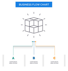 Box labyrinth puzzle solution cube business flow vector
