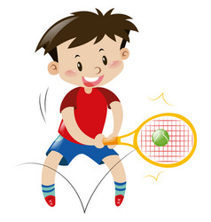 Boy in red shirt playing tennis vector