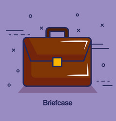 Brown briefcase design vector