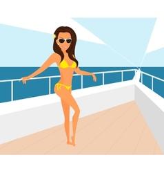 Brunette woman wearing yellow swimsuit is posing vector image vector image