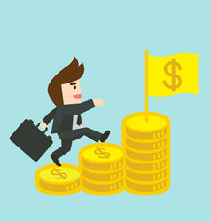 Businessman is walking up the stair of money vector