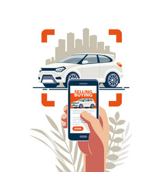 Buying and selling car online vector