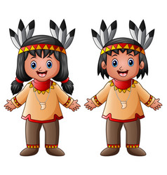 Cartoon children native indian american vector